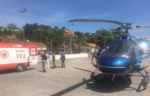 Policial ferido foi transferido de helicóptero para o João XXIII. Foto: Divulgação/PM