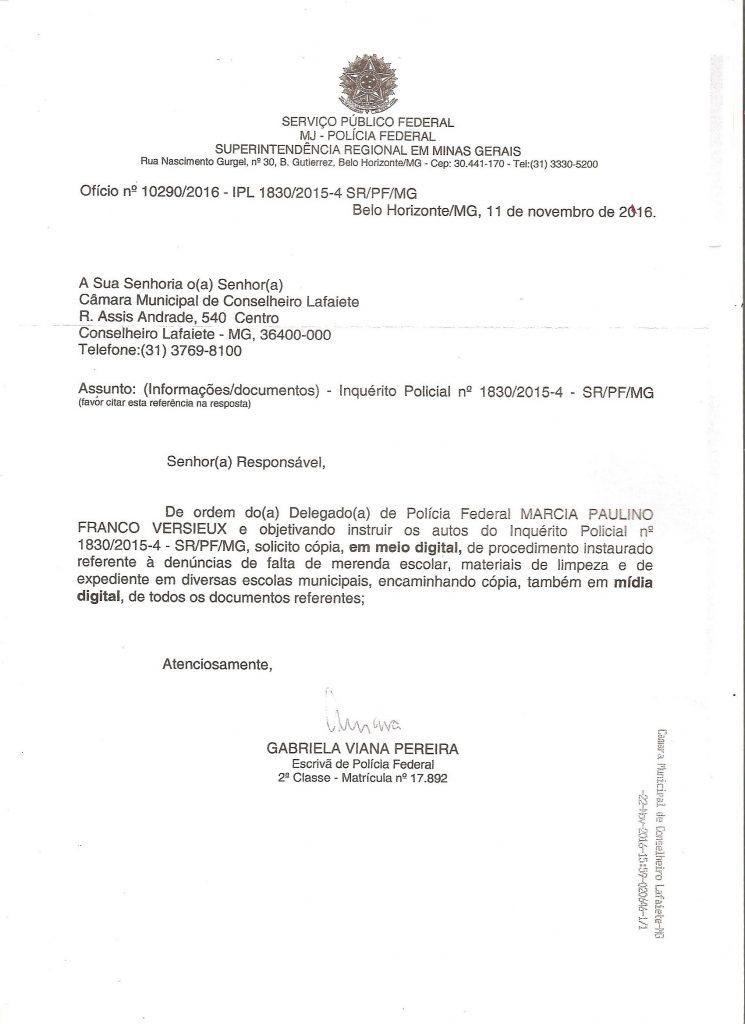 Documento em que delegada da PF solicita documentos a Câmara de Lafaiete